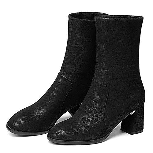 - HWG-GAOYZ Shoes Women's Martin Boots Ankle Footwear Autumn Winter Silk High-Heel Elastic Warm,Black-36