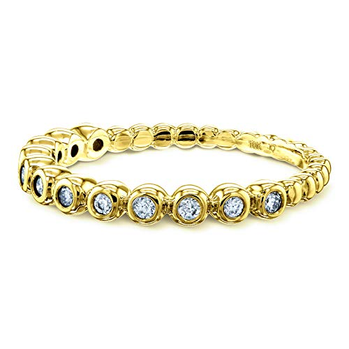 (Ribbed Bezel Diamond Fashion Band (1/8 Carat CTW) in 10k Yellow Gold, 6)