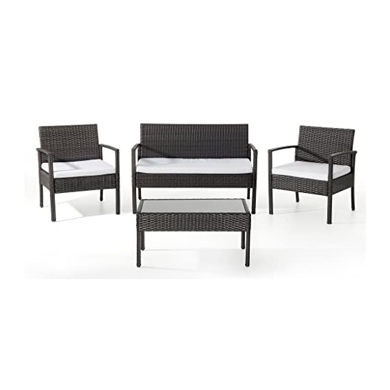 EBS My Furniture Garden Pool Rattan Wicker Patio Sofa Chair Table Set, Balcony Outdoor Set, 4 Piece - All-weather chair cushion covers repel water and moisture Quick and easy assembly using the included hardware, as tabletop made of tempered glass for added safety and spot clean only Chair measures 23 w x 23.5 d x 28-inches h, coffee table measures 29.5 w x15.5 d x 14.5-inches h, loveseat measures 41.5 w x 24 d x 28-inches h - patio-furniture, patio, conversation-sets - 41QQ 1V5icL. SS570  -