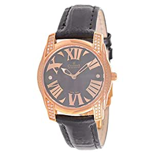 Charmex Ventimiglia Women's Black Mother of Pearl Dial Casual Watch Leather Band - 6042