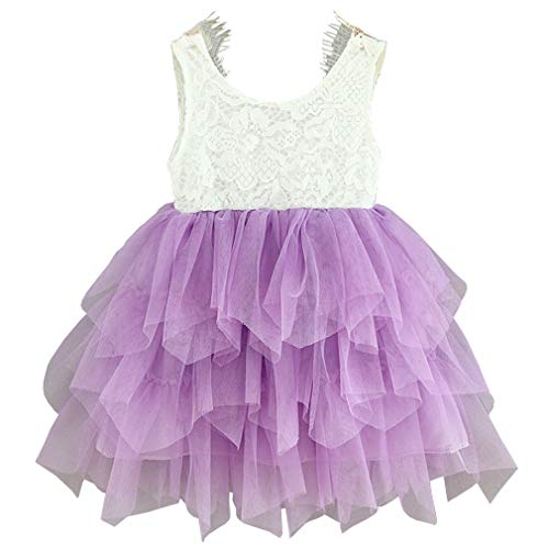 Niyage Girls Lace Backless Tulle Tutus Princess Party Flowergirl Dress 12-18 Months Purple