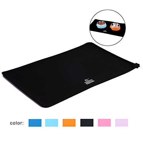 SuperDesign Square Pet Food Mat Made of Premium FDA Grade Silicone Black Waterproof Non-slip Non-spill Easy to Clean Keep Floor Tidy