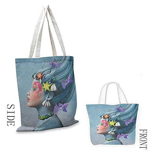 - Canvas zipper tool bag Mermaid Woman with Underwater Themed Make Up Hairstyle Starfishes Seashells Fishes Bubbles Leisure travel bag 16.5