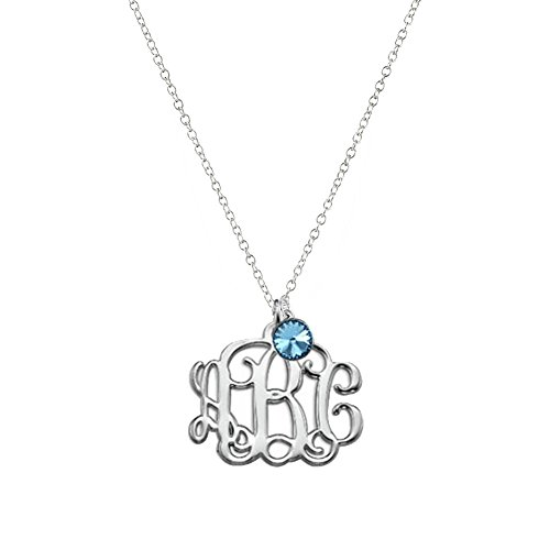 Ouslier Personalized 925 Sterling Silver Monogram Necklace with Birthstone Custom Made with 3 Initials (Silver) (Monogram Necklace Jewelry)