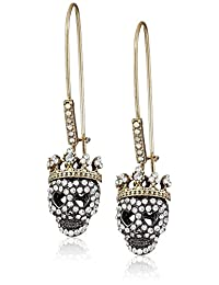 Betsey Johnson Pave Skull Long Drop Earring