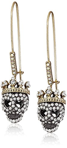 "Betsey Johnson""Dark Shadows"" Pave Skull Long Drop Earrings from Betsey Johnson"
