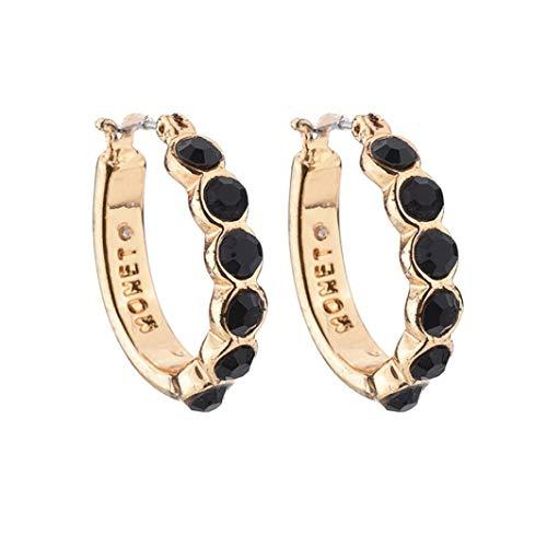 Clearance Deal! Round Hoop Earrings,Women Fashion Crystal Rhinestone Ear Stud Diamond Jewelry Dangle Earring (Black) ()