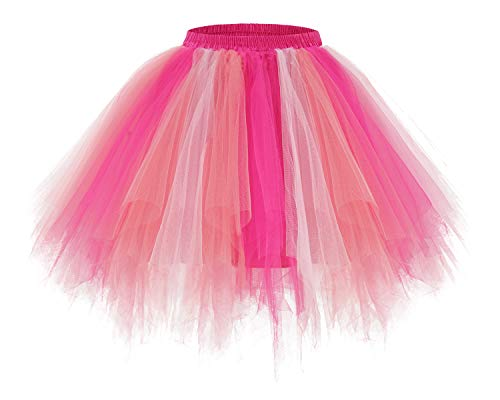(Bridesmay Women's Tutus Tulle Skirt 50s Vintage Petticoat Ballet Bubble Skirts Coral-Pink-Rose L)