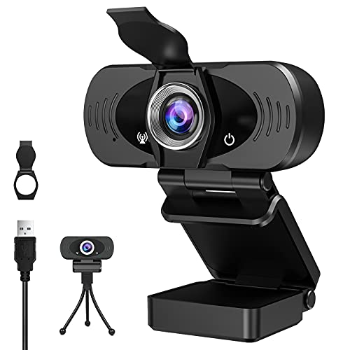 HD 1080P Webcam with Microphone, Web Cameras for Computers Laptop Video Calling Recording Conferencing, Plug and Play, Web Cam USB Camera for Zoom(Include Privacy Cover, Tripod)