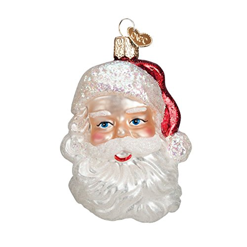 (Old World Christmas Ornaments: Mid-Century Santa Head Glass Blown Ornaments for Christmas Tree)