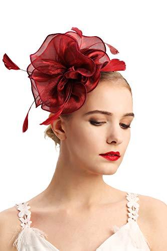 Czioe Flower Cocktail Tea Party Headwear Feather Fascinators Top Hat for Girls and Women(2-burgundy)
