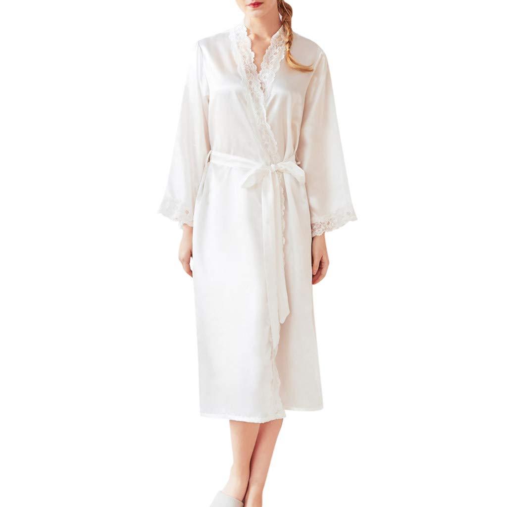 Women Long Satin Robe Long Sleeve Kimono Bandage Simplicity Style Lace Splice Nightdress Sleepwear (L, White)