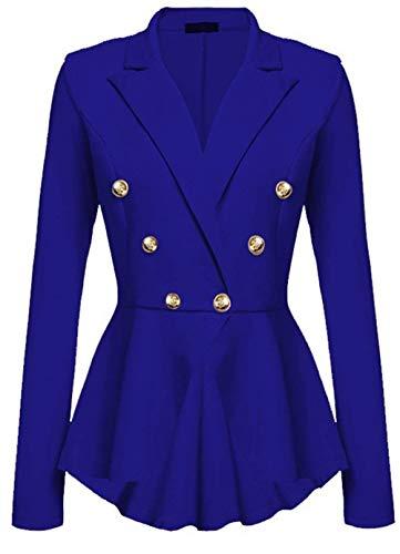 Femme Manteau Printemps Automne Parker lgant Mode Vtements Trench Branch Uni Manche Casual Manches Longues Slim Fit Jeune Mode Outerwear Blau