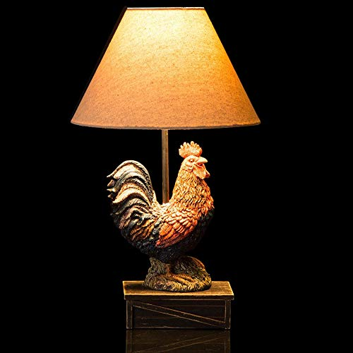 Glitzhome 19.69''H Table Lamp-Farmhouse Rooster Novelty Design with Burlap Shade Neutral Lampshade & Soft,Ambient Lighting Perfect for Living Room,Office (Rooster Table Lamp)