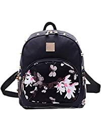 Girl Floral School Bag Travel Cute PU Leather Mini Backpack M Black2