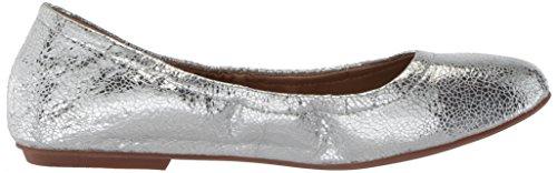 Sonya Silver Leather The Scrunch Women's Ballet Crackle Metallic Metallic Fix Flat vtEwr0qvx