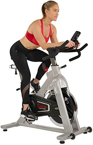 Sunny Health Fitness Belt Drive Indoor Cycling Bike, 44 lb Flywheel with Clipless SPD Style Cage Pedals, LCD Monitor, RPM Cadence Sensor and Pulse Monitor – SF-B1735