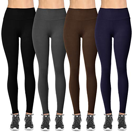 (VIV Collection Plus Size Solid Brushed Leggings 4-Pack (Black/Charcoal/Navy/Dark Brown))