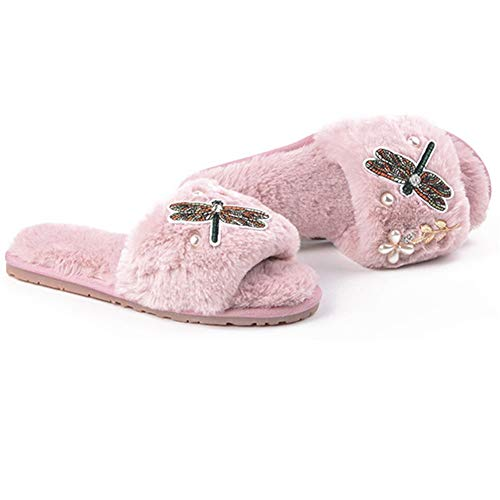 T-JULY Embroider Dragonfly Fur Sandals Women Pearl Beading Flower Home Slippers Crystal Gold Leaves flip Flops ()