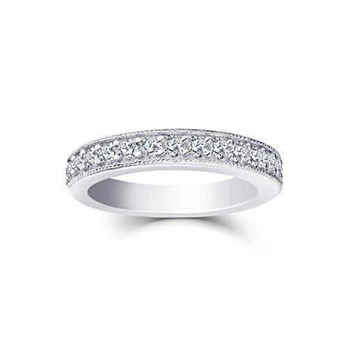 0.53 Carat Prong Set Diamond Wedding Band Ring in 10K White Gold Size7 by JO WISDOM (Image #4)