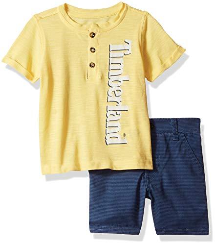 Timberland Baby Boys 2 Pieces Tee Shirt Shorts Set, Yellow/camo, 12M