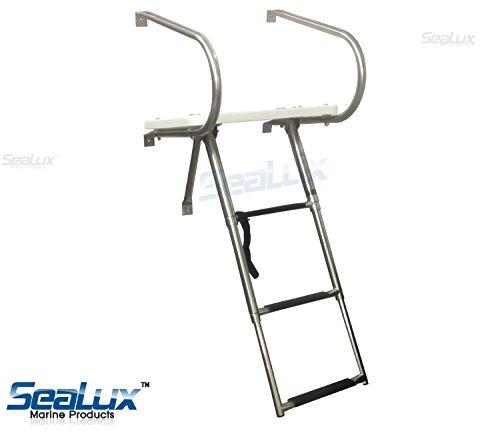 - SeaLux Universal Inboard /Outboard TRANSOM PLATFORM & under mount TELESCOPING 3 Steps LADDER