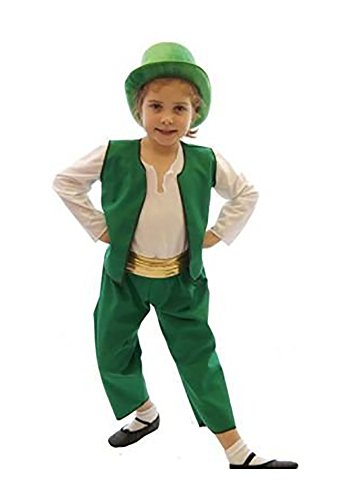 CL COSTUMES Stage-ST Patrick's Day-World Book Day-Fairytale-Oz-Leprechaun Munchkin Green Child's Costume - All Ages (Age 11-13)