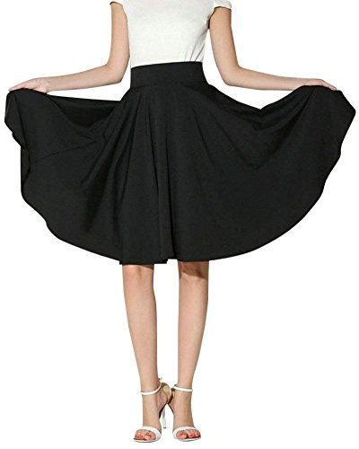Morbuy Jupe Femme Taille Elastique Mi-Longue L't Jupe Taille Haute lgante Jupe Pliss Casual Cocktail. Noir