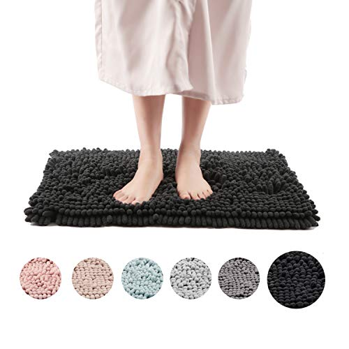 Freshmint Chenille Bath Rugs Extra Soft and Absorbent Microfiber Shag Rug, Non-Slip Runner Carpet for Tub Bathroom Shower Mat, Machine-Washable Durable Thick Area Rugs (16.5″ x 24″, Black)