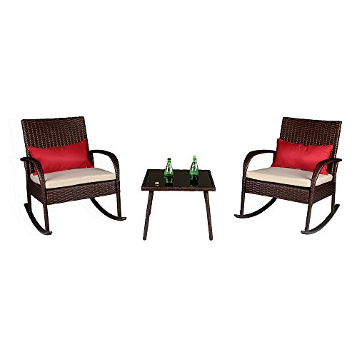 Cloud Mountain Outdoor 3 Piece Rocking Chair Set Wicker Rattan Bistro Set Wicker Furniture - Two Chairs with Glass Coffee Table, Creamy White Cushion with Cocoa Brown Rattan - Patio Rocking Chair Furniture