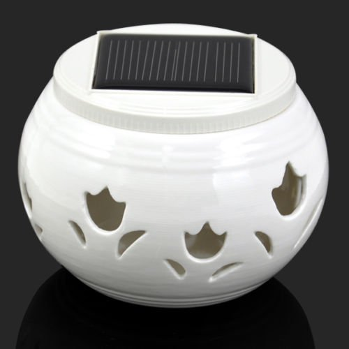 TOOGOO(R) White Led Ceramic Solar Filigree Patterns Table Light Garden Lamp (tulip) ()