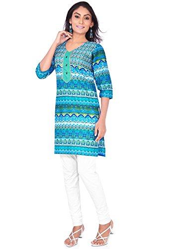 IndusDiva Women's Blue Cotton Straight Cut Kurti
