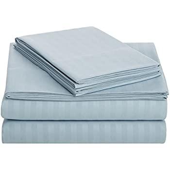 AmazonBasics Deluxe Striped Microfiber Bed Sheet Set - Queen, Spa Blue