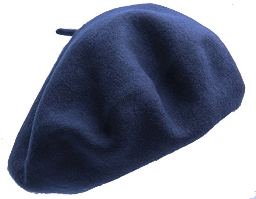 Beret hat Classic Solid Color 100% Wool soft warm Beret Beanie Hat Winter Autumn Fashion Caps (Navy)