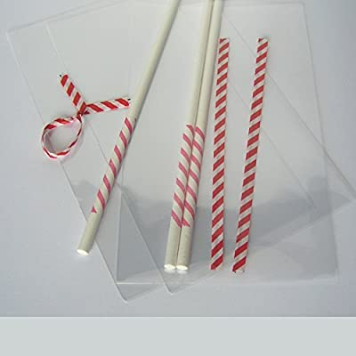 """100pcs x (6"""" Lollipop Sticks + 3""""x5"""" Bags + Ties) for Cake Pops Lollipop Candy (Red Stripe) : Office Products : Garden & Outdoor"""