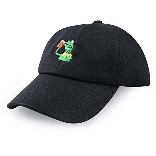 Frog Baseball Hat - Eiffel Fashion Baseball Cap Kermit None My Business Adjustable Cap Frog Sipping Tea (Black)