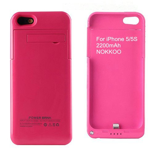 NOKKOO Rechargeable Battery court case 4200 mAh 2200 mAh for iPhone 5 5S 5C Charger court case easily transportable Charging court case having LED exhibit and USB Port Backup strength Emergency strength Supply Pink 2200mAh i5 5S Battery Charger Cases