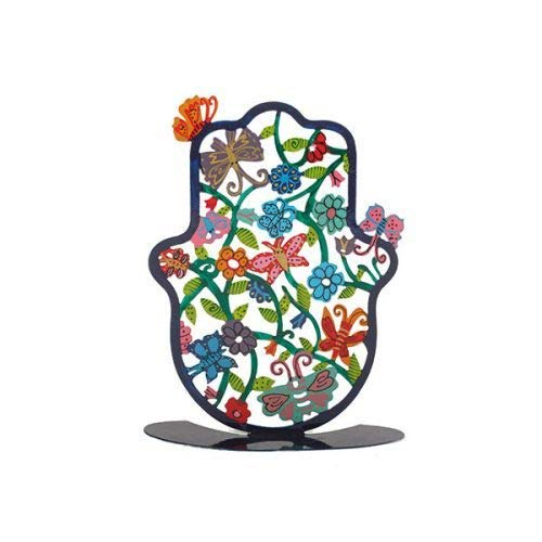 Yair Emanuel Self Standing Hamsa Hand Jewish Amulet Decor - Hand Painted Butterfly Design