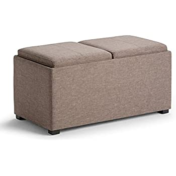 Simpli Home Avalon 5 Piece Rectangular Storage Ottoman, Fawn Brown