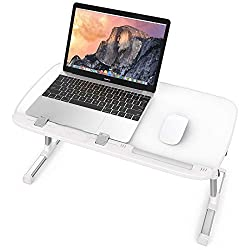 Laptop Desk For Bed, Taotronics Foldable Lap Desks, Bed Desk Height Adjustable, Portable Bed Tray Table For Couch And Sofa, Laptop Stand For Lap And Writing White