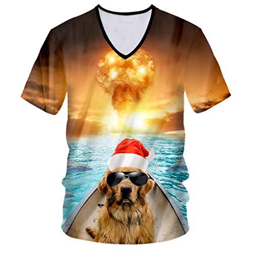 ZhenYiShi Christmas Man 3D Printed Fish and Sunglasses Dog Tshirt Personality Explosion Background Spandex V Neck T-Shirt Fish and Dog XXL]()