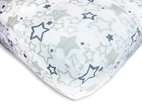SwaddleDesigns Cotton Muslin Crib Sheet, Sterling Starshine Shimmer