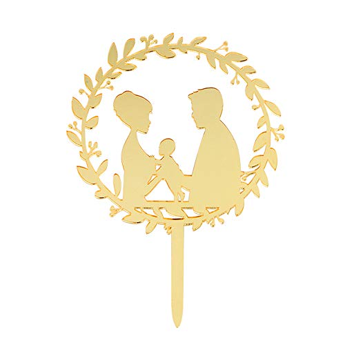 (Mirror Gold Family Silhouette Cake Topper - Wedding Cake Topper Couple with a Baby - Bride and Groom Cake Topper)