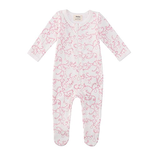 Owlivia Baby Organic Cotton Zip-Up Sleep N Play (12-18 Months, Pear) ()