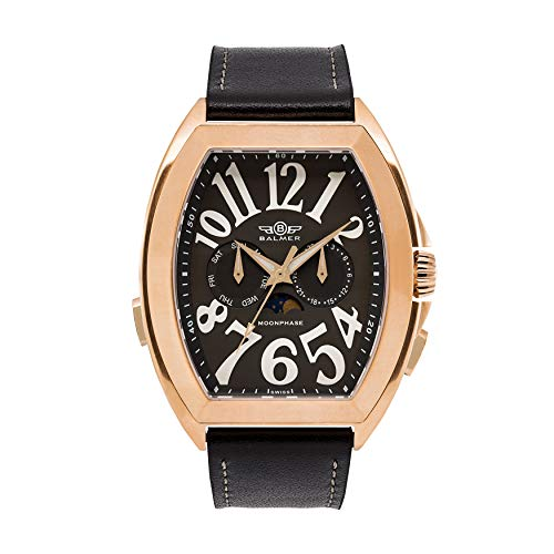 Balmer Cobra Elegante Mens Swiss Master Calendar Watch - Black Leather Strap, Cool Grey Dial, Rose Gold Case