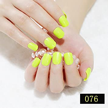 Amazon Com Coolnail Bright Yellow Square Fake Nails Candy Pure