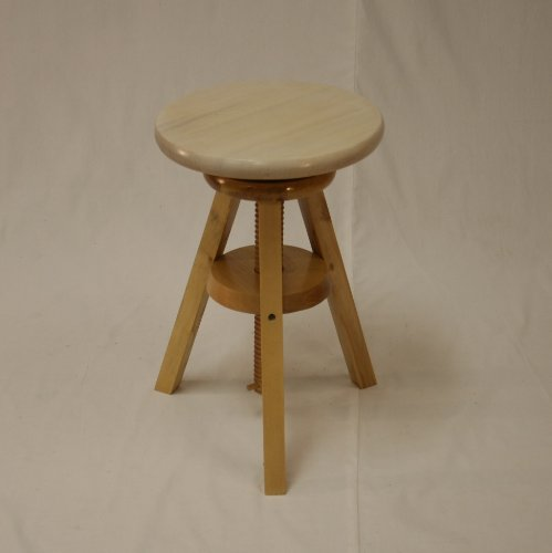 "eHemco Wooden Adjustable Stool in Water-Washed White Seat(18"" to 24"")"