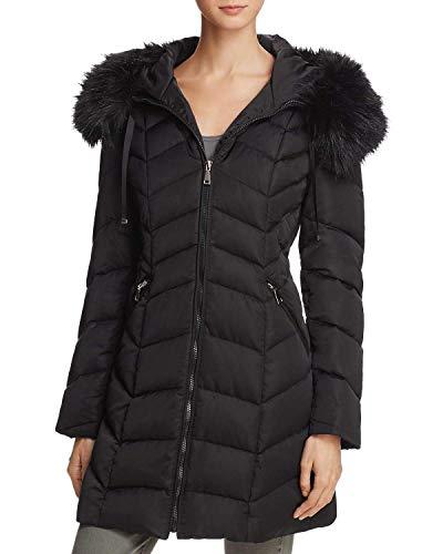 T Tahari Women's Gwen Faux Fur Trim Hooded Coat Short Jacket Black (M) (Short Black Puffer Coat With Fur Hood)