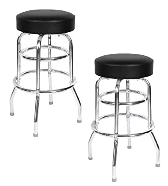 Black Seat Double Rung 30 Inch Swivel Bar Stool – Set of Two 0-1952BLK