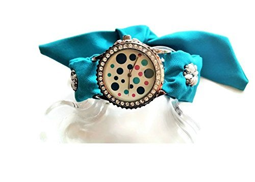 Women's turquoise wrap around wrist watch Beaded silk band bracelet Girlfriend gift (Duo Costume Ideas)